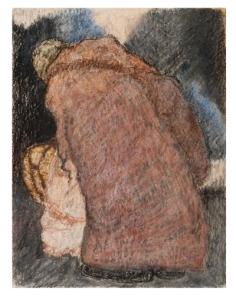 Homeless, 2014 by Jeanie Neyer. Oil pastel.